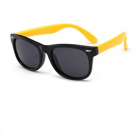 Zonnebril Zwart Geel Flexibel Siliconen Bril en Glazen