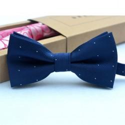 JPES Kinderstrik Vlinderdas Blauw met Witte Stippen