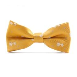 JPES Kinderstrik Vlinderdas Geel met Witte Fietsen